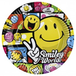 Amscan - Lot 8 Assiettes en carton Smiley Comic 23cm