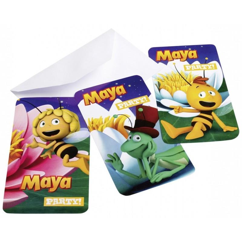 AMSCAN - Lot 6 Cartes invitation + enveloppes Maya l'Abeille