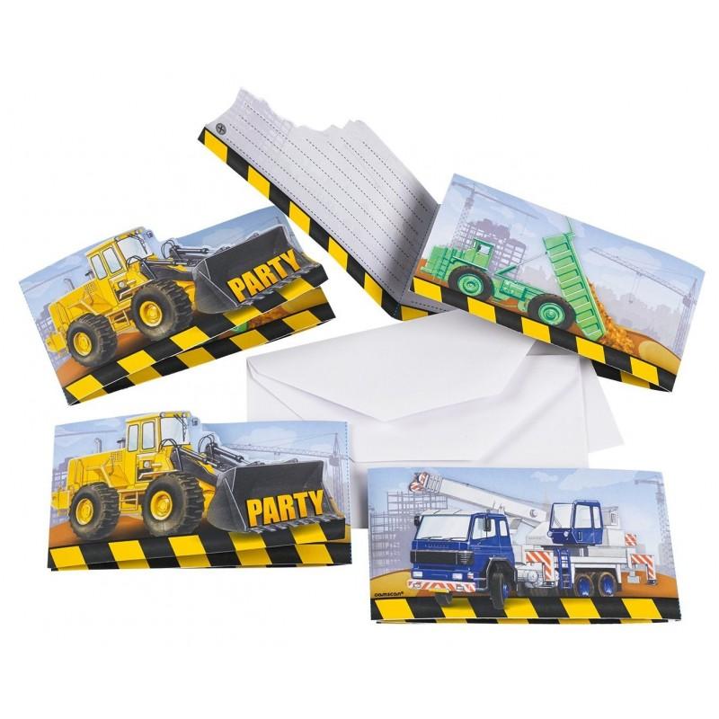 AMSCAN - Lot 8 Cartes invitation + enveloppes Construction