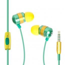 GOgroove audiOHM HF Ecouteurs Intra Auriculaires - VERT - Kit Piéton Micro Main-Libres intégré
