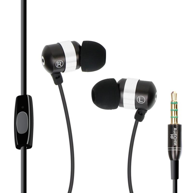 GOgroove audiOHM HF Ecouteurs Intra Auriculaires - NOIR - Kit Piéton Micro Main-Libres intégré