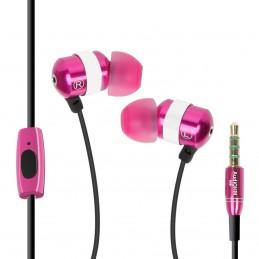 GOgroove audiOHM HF Ecouteurs Intra Auriculaires - ROSE - Kit Piéton Micro Main-Libres intégré