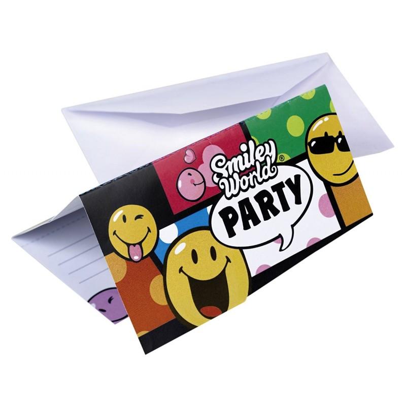 Amscan - 6 Cartes d'invitation et Enveloppes Smiley Comic