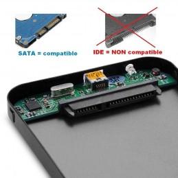 """Memup Boitier USB 3 pour disque dur externe 2,5"""" SATA ou SSD - compatible USB 2"""