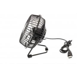 """HQ - Mini Ventilateur USB 4"""", en métal NOIR diamètre 10cm -  Qualité Supérieure"""