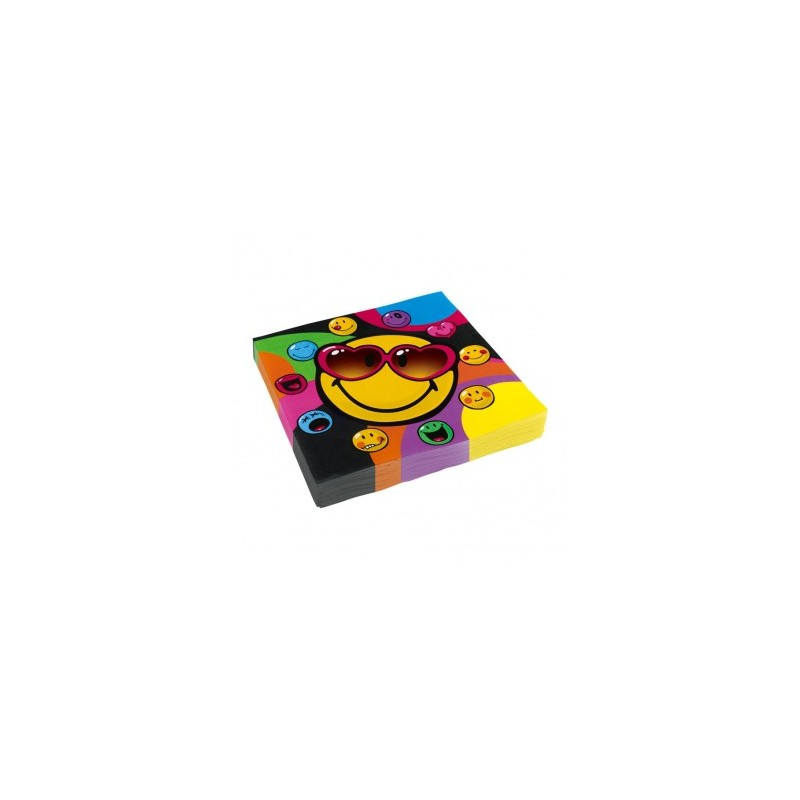 Amscan - Lot 20 Serviettes en papier Smiley Express 33x33cm