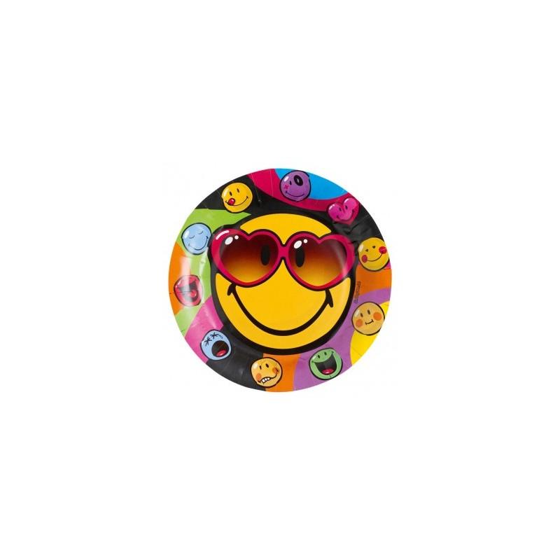 Amscan - Lot 8 Assiettes en carton Smiley Comic 23cm