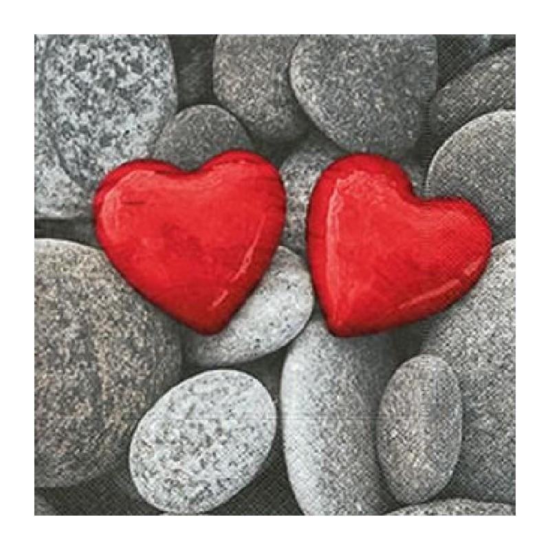 Paper+Design - Lot 20 Serviettes en papier Love stones - Pierre de l'Amour 33x33cm