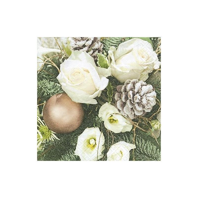 Paper+Design - Lot 20 Serviettes en papier Rose blanche de Noël 33x33cm
