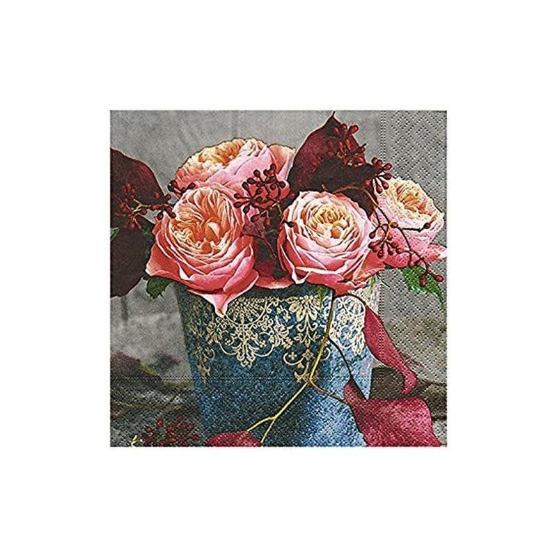 Paper+Design - Lot 20 Serviettes en papier Roses d'Automne 33x33cm