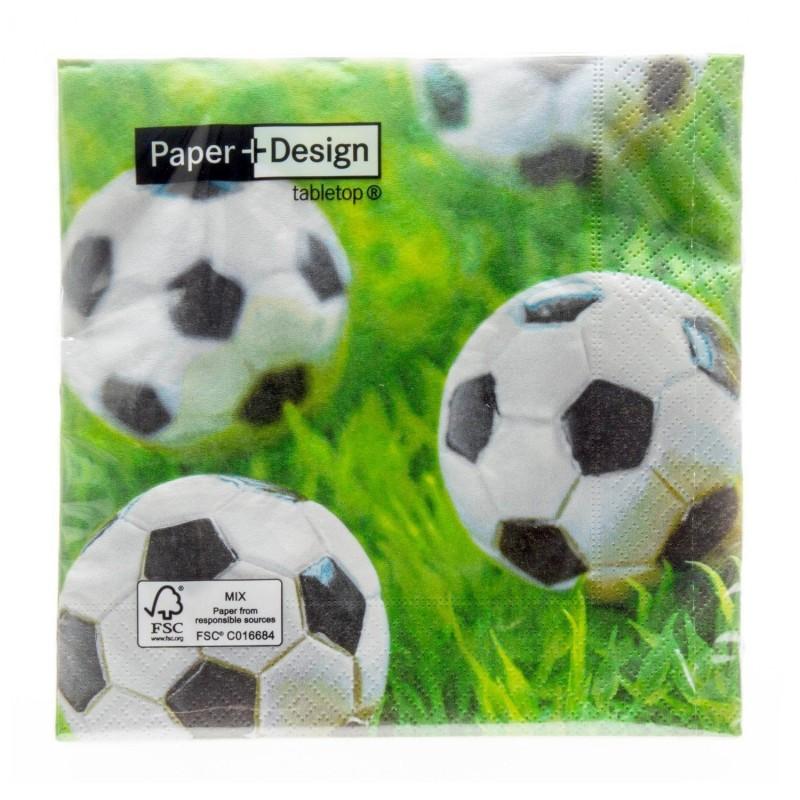Paper+Design - Lot 20 Serviettes en papier Football 33x33cm