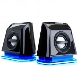 GOgroove Haut-Parleurs Portables Multimédia 2.0 Enceintes PC USB avec LED Bleus