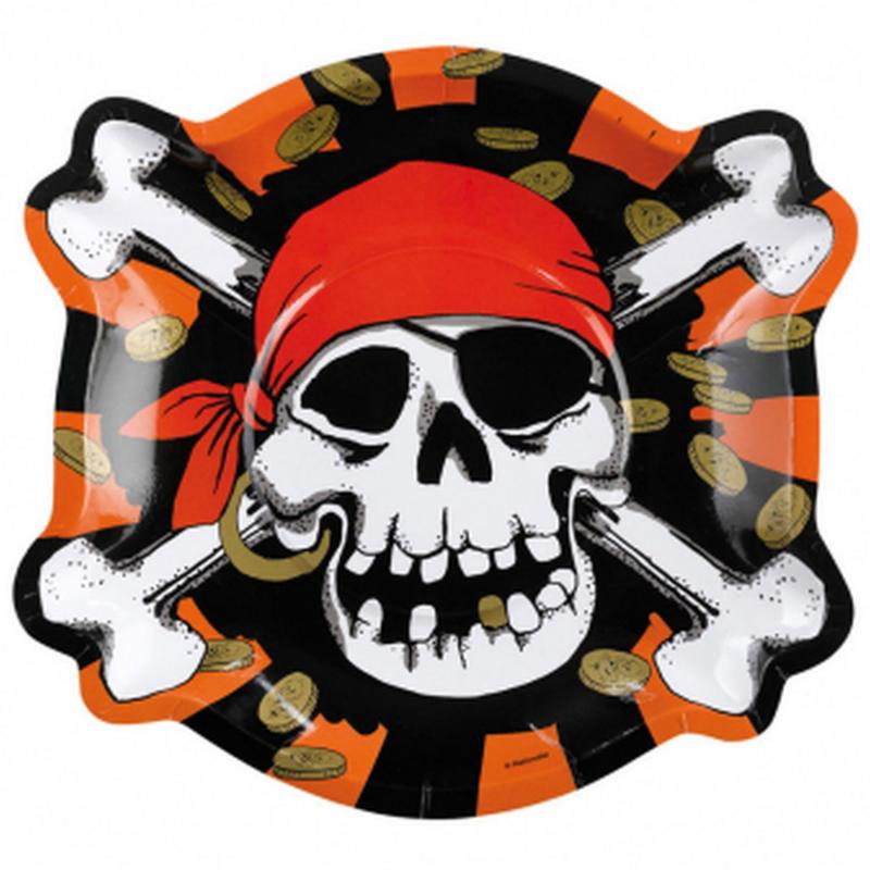 AMSCAN - Lot 8 Assiettes carton Forme Pirate, tête de mort 23cm diamètre