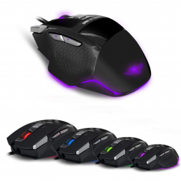 "SPIRIT OF GAMER Souris Gamer PRO-M8 Light Edition "" - 3500 DPI - 7 BOUTONS dont 1 RAPID FIRE - rétro éclairage LED 4 couleurs"