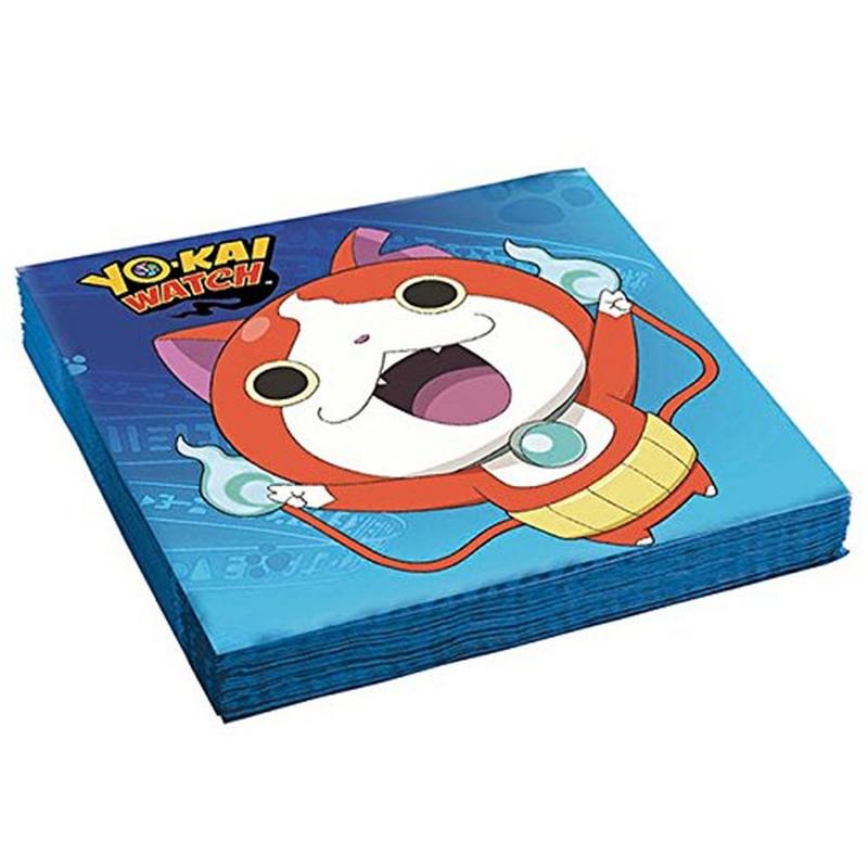 AMSCAN - Lot 20 Serviettes en papier Yo-Kai Watch 33x33cm