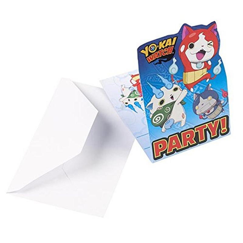 AMSCAN - 8 Cartes invitation + Enveloppes YO-KAI WATCH