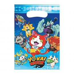 AMSCAN - Lot 8 sachets de fête, sac à bonbons Yo-Kai Watch
