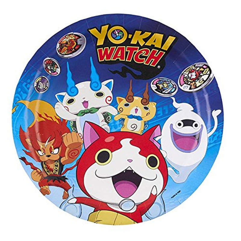 AMSCAN - LOT 8 Assiettes  en carton 23cm diam YO KAI WATCH