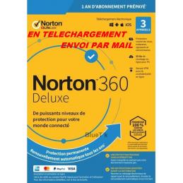 NORTON 360 DELUXE ESD 3 Appareils - 3APP - 1 AN - 25GB CLOUD - Envoyé par mail