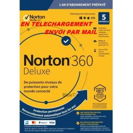 NORTON 360 DELUXE ESD 5 Appareils - 5APP - 1 AN - 50GB CLOUD - Envoyé par mail