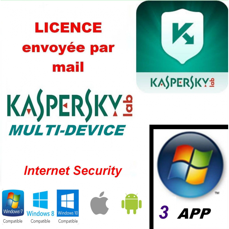Kaspersky Internet Security Multidevice 2020 - 3 App 1 An PC Mac Android iOS - Licence officielle par mail - ESD
