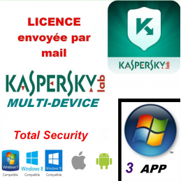 Kaspersky Total Security Multidevice 2021 - 3 App 1 An PC Mac Android - Licence officielle par mail - ESD