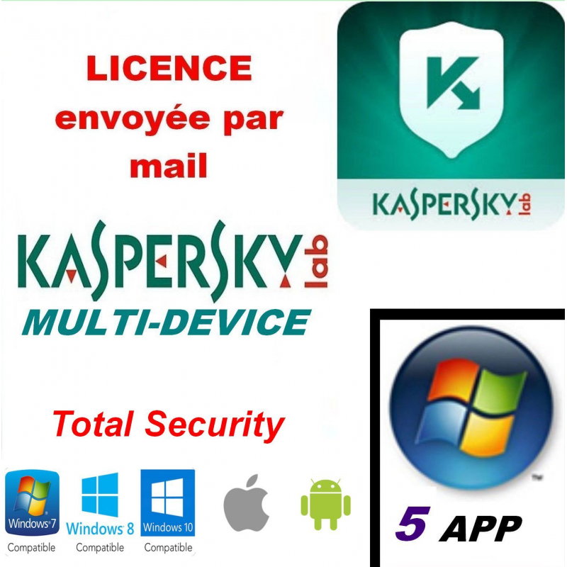Kaspersky Total Security Multidevice 2020 - 5 App 1 An PC Mac Android - Licence officielle par mail - ESD