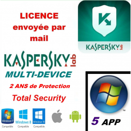 Kaspersky Total Security Multidevice 2020 - 5 App 2 ANS PC Mac Android - Licence officielle par mail - ESD