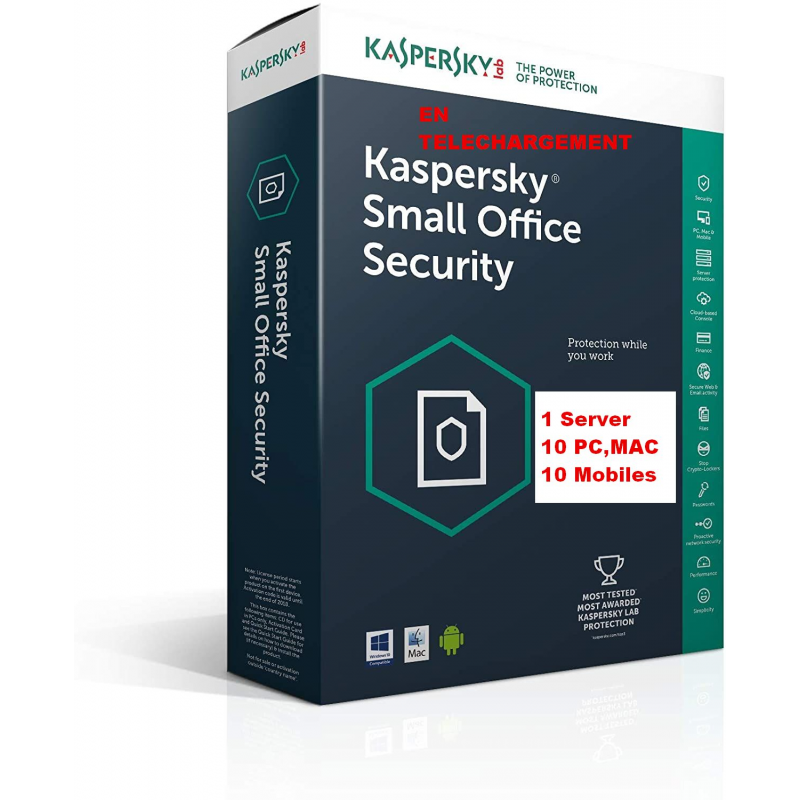 Kaspersky Small Office Security Vers 7 - 1 Serveur 10 Postes 10 Mobiles 1An