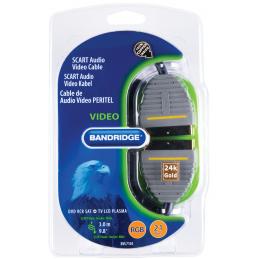 Bandridge - Câble vidéo audio péritel plat SCART M 3 m