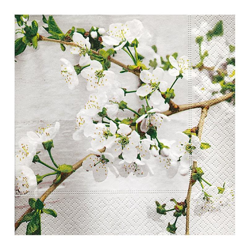 Paper+Design - Lot 20 Serviettes en papier Branche cerisier en fleur 33x33cm