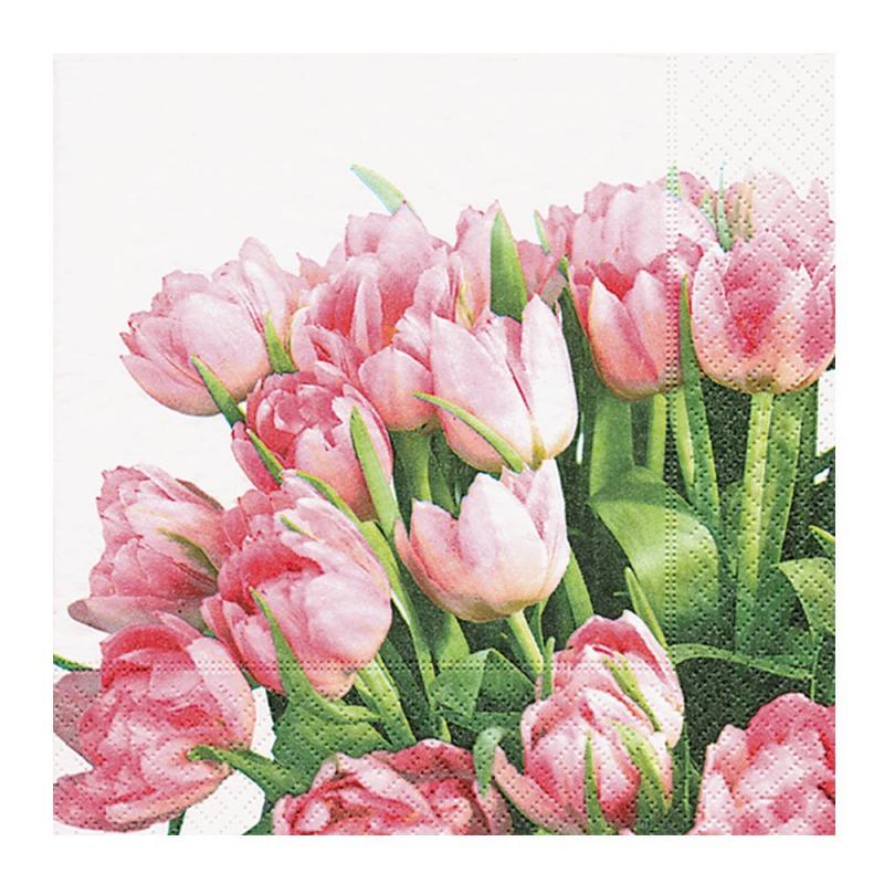 Paper+Design - Lot 20 Serviettes en papier Tulipe rose 33x33cm