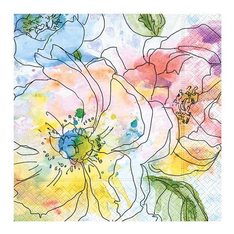 Paper+Design - Lot 20 Serviettes en papier Aquarelle fleurs colorées 33x33cm