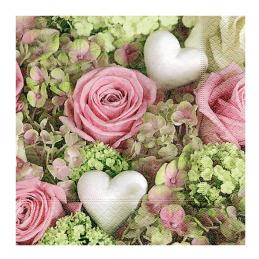 Paper+Design - Lot 20 Serviettes en papier Coeur Blanc avec des roses 33x33cm