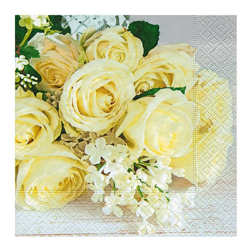 Paper+Design - Lot 20 Serviettes en papier Roses de mariage 33x33cm
