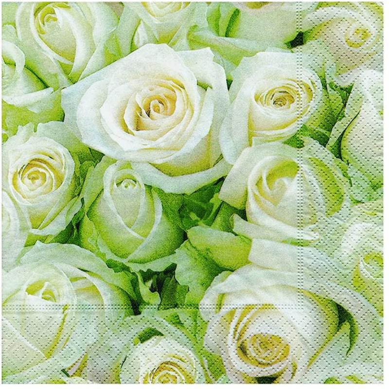 Paper+Design - Lot 20 Serviettes en papier Roses blanches 33x33cm