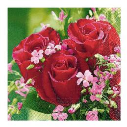 Paper+Design - Lot 20 Serviettes en papier Bouquet de Roses 33x33cm