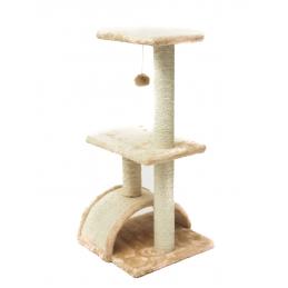 ZAMIBO Arbre à chat - griffoir 2 étages, jouet, 74x34x34 cm, naturel