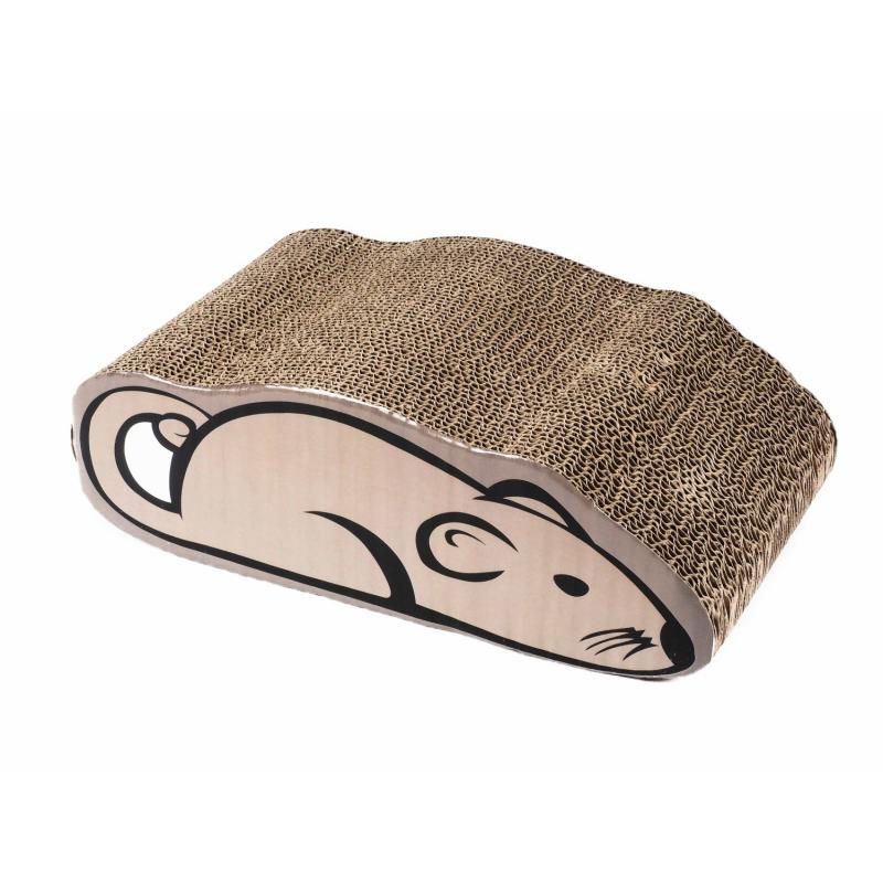 ZAMIBO Griffoir carton carton kraft forme souris à l'herbe à chat, 36x20x12 cm