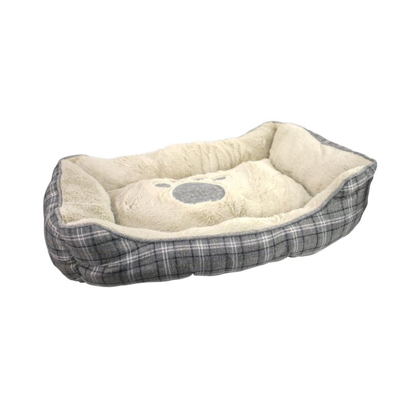 ZAMIBO Panier pour chien - tissus gris écossais 70x50x20 cm, os oreiller, plaid