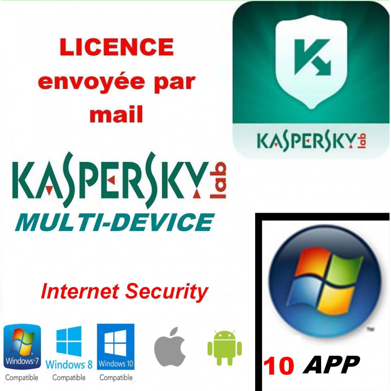 Kaspersky Internet Security Multidevice 2020 - 10 App 1 An PC Mac Android iOS - Licence officielle par mail - ESD