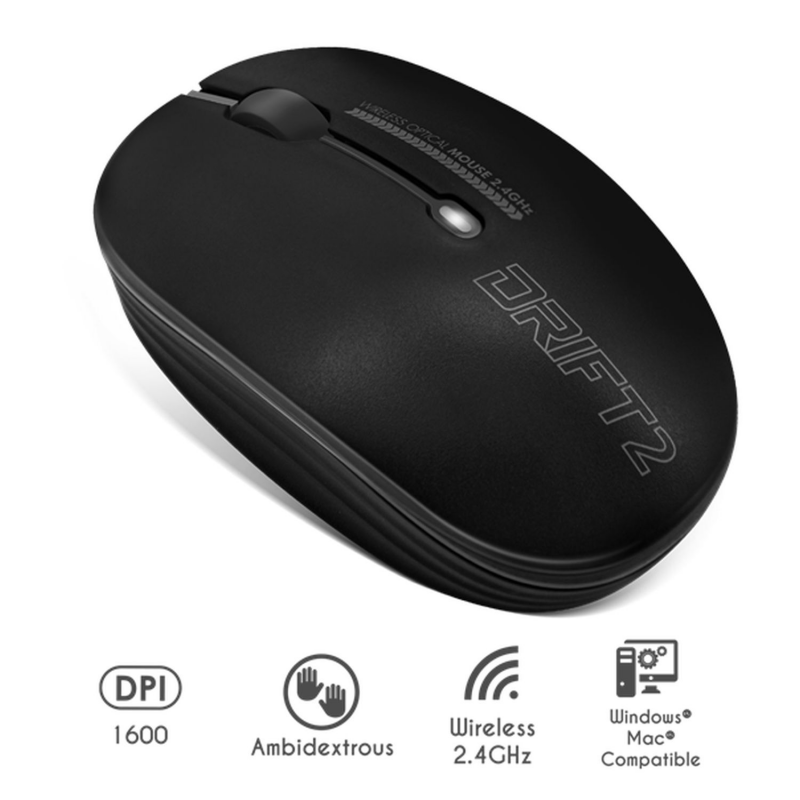 Souris wireless - sans fil-  Drift 2 Black - Noir S-290BK Advance