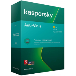 BOITE - Kaspersky Antivirus 2021 1 PC et 1 An de protection Windows 10, 8, 7
