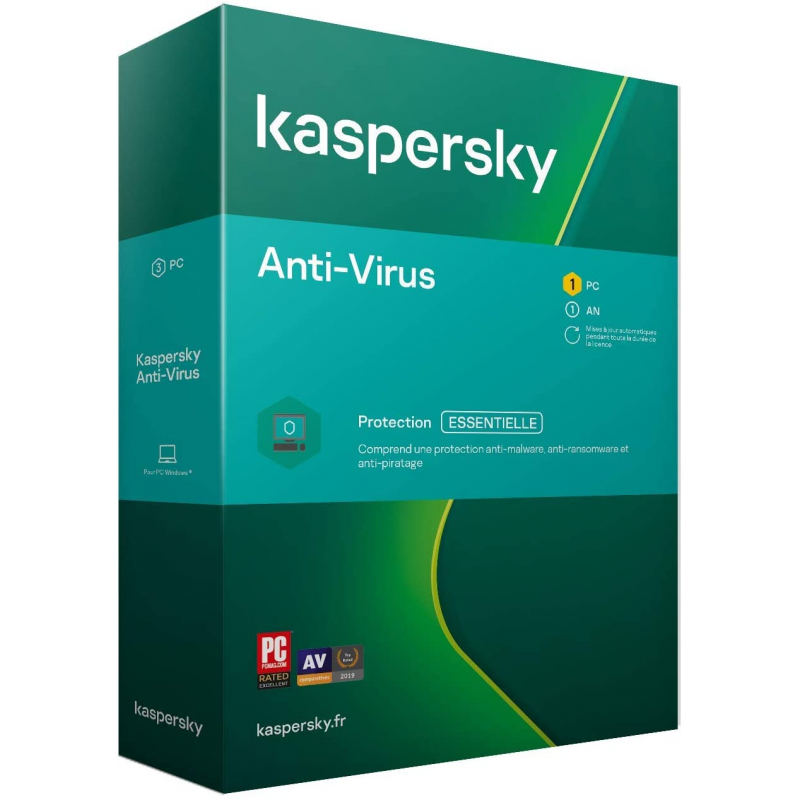 BOITE - Kaspersky Antivirus 2021 3 PC et 1 An de protection Windows 10, 8, 7