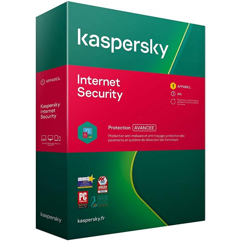 BOITE - Kaspersky Internet Security 2021 - 1 Appareil (PC, MAC, Android, iOS) 1 An de protection