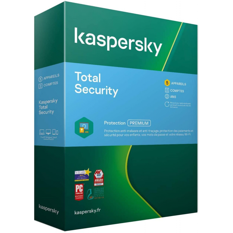 BOITE - Kaspersky TOTAL Security 2021 - 5 Appareils (PC, MAC, Android, iOS) 2 Ans de protection
