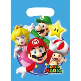 AMSCAN - Lot 8 sachets de fête, sac à bonbons Super Mario