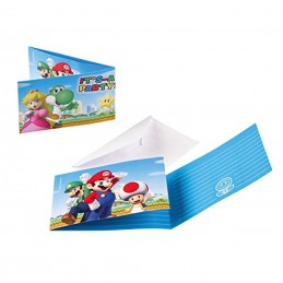 AMSCAN - 8 Cartes invitation + Enveloppes Super Mario