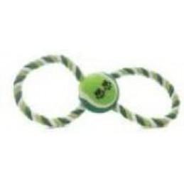 ZAMIBO Corde forme 8, 25x8 cm, balle tennis 6 cm, vert bleu