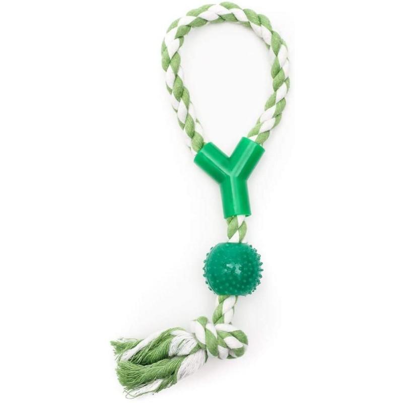 ZAMIBO Corde 33cm avec Balle caoutchouc à Picots 33 cm - Vert Blanc - Jouet pour Chien